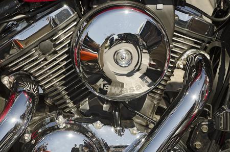 september 2: VALLADOLID, SPAIN SEPTEMBER 2, 2012: Engine block of a Kawasaki motorcycle at a meeting of vintage cars in Valladolid, Spain on September 2, 2012