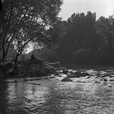 backlights: An old man sitting on the banks of the Duero river fishing on July 1979 in Zamora, Spain. Black and white