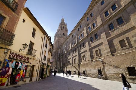 clergy: SALAMANCA, SPAIN - FEBRUARY 5,2013: Pedestrians near Church of the Clergy (la Clerecia) at the bottom of the street of the company, in Salamanca, Spain, on February 5, 2013