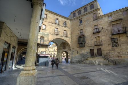 vida social: SALAMANCA, ESPAÑA - 05 de febrero 2013: Los peatones en la plaza. La Plaza Mayor de Salamanca, España, es una plaza urbana construida como castellana que con el tiempo se convirtió en el centro de la vida social de la ciudad. El 05 de febrero 2013