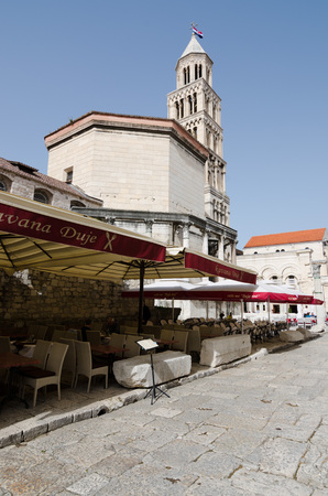 19's: SPLIT, CROATIA - MAY 19, 2013: Restaurant street in the Croatian city of Split, next to Diocletian's Palace. On May 19, 2013, in Split, Croatia