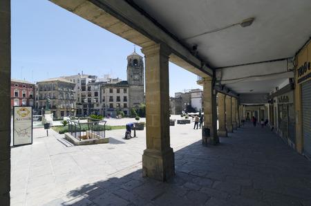 arcades: UBEDA, JAEN PROVINCE, SPAIN - APRIL 16, 2013: Arcades of the Plaza de Andalucia, in Ubeda, Jaen Province, Spain
