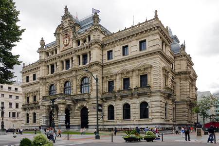 vizcaya: BILBAO, SPAIN - JULY 4, 2013: Palace of the Provincial Council of Biscay, Bilbao. This is the government of the province of Biscay (Basque Country). On July 4, 2013 in Bilbao, Spain Editorial