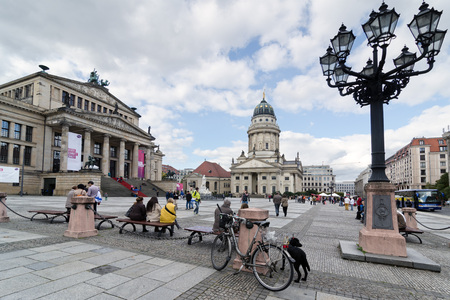 seventeenth: BERLIN, GERMANY - SEPTEMBER 28: French Cathedral and Gendarmenmarkt Square on September 28, 2013 in Berlin, Germany. The square was created by Johann Arnold Nering at the end of the seventeenth century.