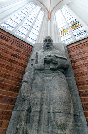 tribute: LUBECK, GERMANY-SEPTEMBER 26: Statue in memory and tribute to the fallen German soldiers in the First World War in St Jakobs Church, Lubeck on September 26, 2013. Editorial