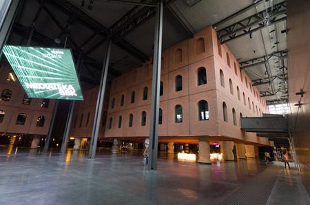 venue: BILBAO, SPAIN - JULY 2, 2013: Originally a wine warehouse, today is a multi-purpose venue located in the city of Bilbao, Spain. It was designed by French designer Philippe Starck in collaboration with Thibaut Mathieu Editorial