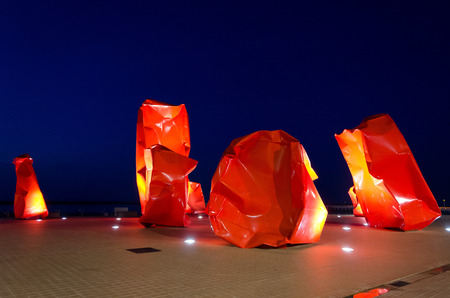 controversial: OSTEND, BELGIUM - OCTOBER 24: Rock Strangers by Arne Quinze. Controversial contemporary work of art on the seabank on October 24, 2013, in Ostend, Belgium