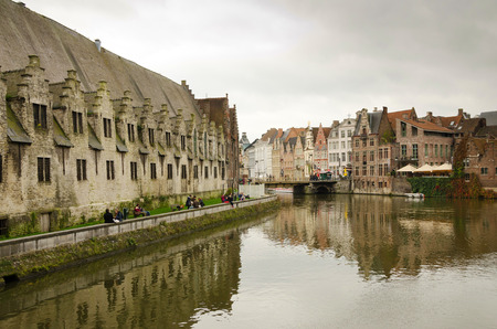 flemish: GHENT, BELGIUM - OCTOBER, 25: Nice houses in the old town of Ghent, Belgium on October 25, 2013. Ghent is a city and a municipality located in the Flemish region of Belgium.