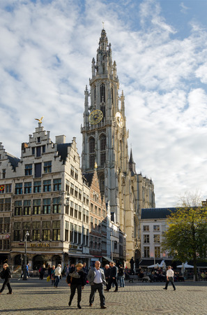 benelux: ANTWERP, BELGIUM - OCTOBER 26: Cathedral of Our Lady on October 26, 2013 in  in Antwerp, Belgium. The cathedral was completed in 1521 and this is the highest church in the Benelux with 123 m (404 ft) of height.