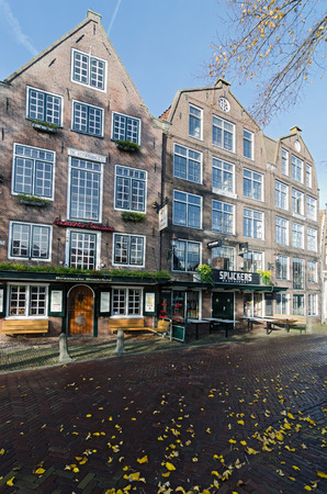 hoorn: HOORN, THE NETHERLANDS - OCTOBER 22: Typical Dutch architecture on October 22, 2013 in Hoorn, The Netherlands Editorial