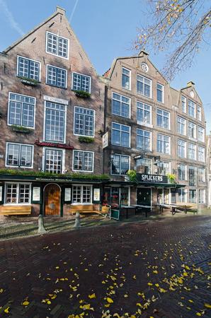 hoorn: HOORN, THE NETHERLANDS - OCTOBER 22: Typical Dutch architecture on October 22, 2013 in Hoorn, The Netherlands Editorial