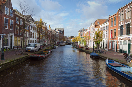 agglomeration: LEIDEN, NETHERLANDS - OCTOBER 23: Waterways and typical Dutch architecture on October 23, 2013 in Leiden, Netherlands. Leiden is the 6th largest agglomeration in the Netherlands Editorial