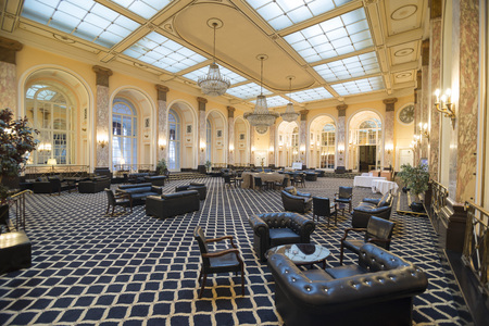 city centre: LIVERPOOL, UNITED KINGDOM - JUNE 8, 2014: Halls of the Britannia Adelphi Hotel is located at Ranelagh Place, Liverpool city centre, England. The present building is designated by English Heritage as Grade II listed building.