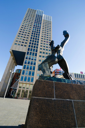 bombings: ROTTERDAM, NETHERLANDS - OCTOBER 24: Verwoeste Stad (1953) -destroyed city-  sculpture by  Ossip Zadkine, on October 24, 2013, in Rotterdam, Netherlands.