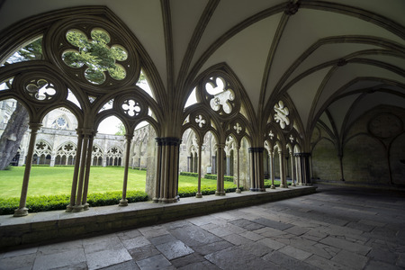 garth: SALISBURY, UNITED KINGDOM - JUNE 4, 2014: A part of the Gothic cloisters of Salisbury Cathedral