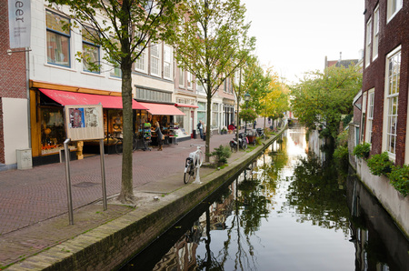 delft: DELFT, NETHERLANDS - OCTOBER 24: A view of a portion of the town center of Delft, on October 24, 2013 in Delft, Netherlands