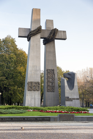 tribute: POZNAN, POLAND - OCTOBER 24, 2014: Memorial tribute monument to the Victims of June 1956