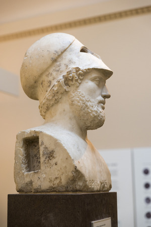 enabled: LONDON, UNITED KINGDOM - JUNE 5, 2014:  British Museum. Perikles (died 429 BC) was famous for his public speaking, wuich enabled him to rue Athens a the height of her empire. With a military helmet pushed back on the head