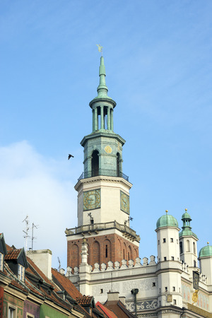 townhall: Poznan city hall tower over a blue sky