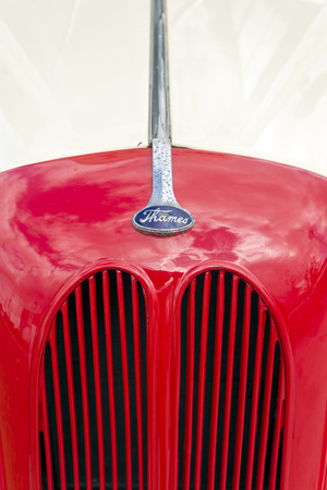 postwar: LIVERPOOL, ENGLAND - JUNE 10, 2014: Close up of a grille of a old Thames Ford Fordson E494C van, 1948-1954
