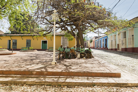 quintet: TRINIDAD, CUBA -MAY 8, 2014: Traditional musicians playing in the streets of Trinidad, declared by UNESCO World Heritage Site in 1988. Editorial