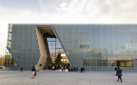 architectural feature: WARSAW, POLAND - OCTOBER 20, 2014: Museum of the history of polish Jews - building designed by Finnish architect Rainer Mahlamaki.