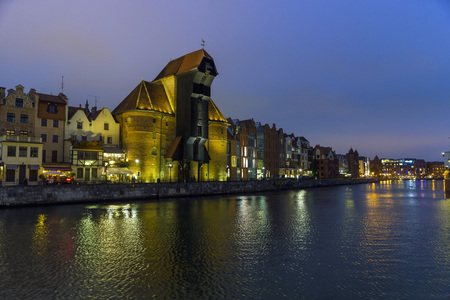 riverside county: GDANSK, POLAND - OCTOBER 22, 2014: The riverside with the characteristic crane of Gdansk, Poland. Editorial