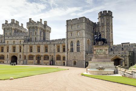 queen elizabeth ii: WINDSOR, UNITED KINGDOM - JUNE 6, 2014: Outside view of Medieval Windsor Castle  Windsor, England. Windsor Castle is a royal residence at Windsor in the English county of Berkshire.