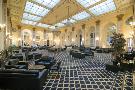britannia: LIVERPOOL, UNITED KINGDOM - JUNE 8, 2014: Halls of the Britannia Adelphi Hotel is located at Ranelagh Place, Liverpool city centre, England. The present building is designated by English Heritage as Grade II listed building.