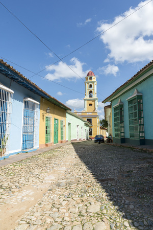 tourist spot: TRINIDAD, CUBA - MAY 8, 2014: Old town of Trinidad, Cuba. Trinidad is a historical town listed by UNESCO as World Heritage, it is full of colonial buildings and main tourist spot.