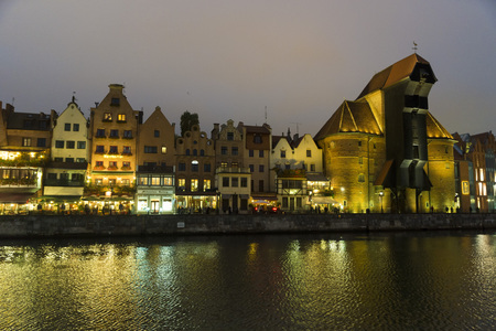 riverside county: The riverside with the characteristic crane of Gdansk, Poland. Editorial
