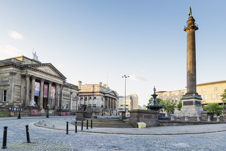 wellingtons: LIVERPOOL, UNITED KINGDOM - JUNE 8, 2014: St. Georges Hall, Walker Art Gallery and Wellingtons Column in Liverpool