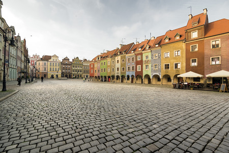 chivalry: POZNAN, POLAND - OCTOBER 24, 2014: Picturesque rowhouses on the Old Market Square in Poznan, Poland Editorial