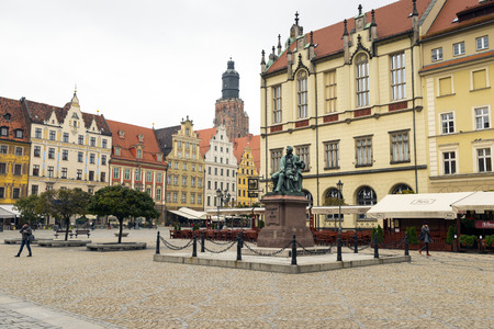aleksander: WROCLAW, POLAND - OCTOBER24, 2014: Aleksander Fredro monument - famous polish writer - Wroclaw - old town
