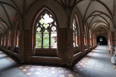 gothic castle: Interior in greatest Gothic castle in Europe - Malbork.  Editorial