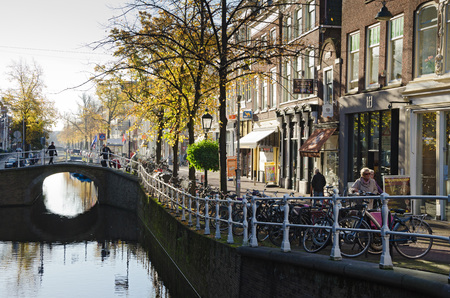 dutch culture: DELFT, NETHERLANDS - OCTOBER 24: A view of a portion of the town center of Delft, on October 24, 2013 in Delft, Netherlands