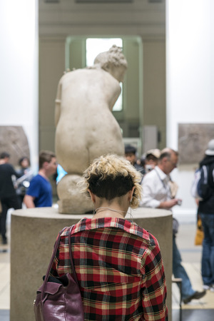 aphrodite: LONDON, UNITED KINGDOM - JUNE 5, 2014:  British Museum.  Lelys Venus,  Aphrodite surprised as she bathes. Marble, Roman copy from the 2nd century BC after an Hellenistic original.