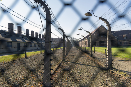 extermination: AUSCHWITZ, POLAND - OCTOBER 25, 2014: Auschwitz Camp, a former Nazi extermination camp  in Oswiecim, Poland. It was the biggest nazi concentration camp in Europe. Editorial