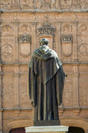 xv century: SALAMANCA, SPAIN - NOVEMBER 21, 2014: Fray Luis de Leon and University of Salamanca, Spain, XV century. The old city of Salamanca was declared a UNESCO World Heritage site in 1988.