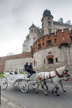 main market: KRAKOW, POLAND - OCTOBER 27, 2014: Carriage on a street near The Main Market Square in Krakow, Poland
