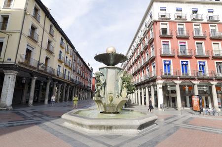 dorada: VALLADOLID, SPAIN - JULY 5, 2015: People at the Plaza de la Fuente Dorada (golden fountain) in Valladolid, Castilla y Leon, Spain. Editorial