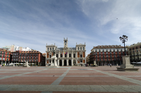 arcades: VALLADOLID, SPAIN – JULY 5, 2015: the main squar and the city hall of Valladolid, Castilla y Leon, Spain. The main square is the first place arcades closed in Spain.