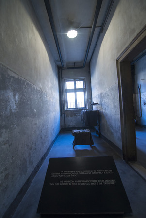 chambers: AUSCHWITZ, POLAND - OCTOBER 25, 2014:  Inside of barrack in concentration camp Auschwitz, Brzezinka, Poland. 1.1 million people mostly Jews from allover Europe were killed in gas chambers. Editorial
