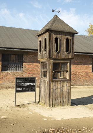 concentration camp: AUSCHWITZ, POLAND - OCTOBER 25, 2014: Auschwitz Camp, a former Nazi extermination camp  in Oswiecim, Poland. It was the biggest nazi concentration camp in Europe. Editorial