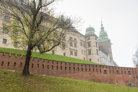 krakow: KRAKOW, POLAND - OCTOBER 27, 2014: view of Wawel Castle an autumn morning in Krakow, Poland Editorial