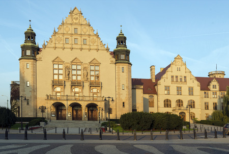 collegium: POZNAN, POLAND - OCTOBER 24, 2014: Neo-Renaissance facade of the University Aula and Collegium Minus of Adam Mickiewicz University