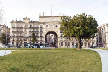 building monumental: SANTANDER, SPAIN - MARCH 10, 2015: View of the monumental building of banco de santander with giant arc inside