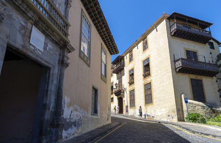 san agustin: LA OROTAVA, TENERIFE, SPAIN - JUNE 23, 2015: Casa Lercaro in La Laguna, is located in the central street San Agustin, also called Palacio de Lercaro dates from 1593 (s. XVI) when Francisco Lercaro de León, from a family of Genoese merchants settled in Te