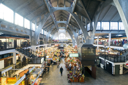 richard: WROCLAW, POLAND - OCTOBER24, 2014: Wrocław Market Hall was designed by Richard Plüddemann and built between 1906-08 as the Breslauer Markthalle Nr 1, when the city was part of Germany.