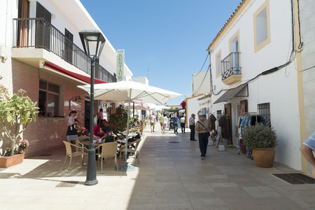 formentera: SAN FRANCISCO, FORMENTERA, ESPAÑA - MAY 12, 2015: Tourists in San Francisco Javier (officially and in Catalan Sant Francesc de Formentera) is the capital and main town of Formentera, town hall and the main services of the island.